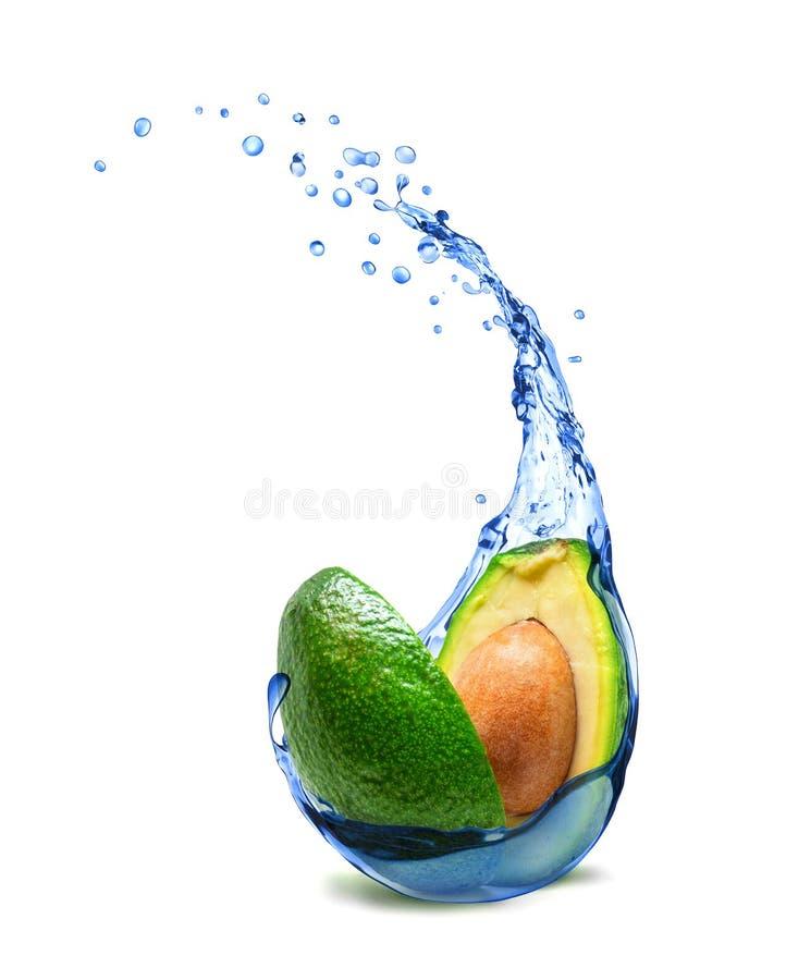 Avocado mit Süßwasser spritzt lokalisiert auf weißem Hintergrund stockfoto