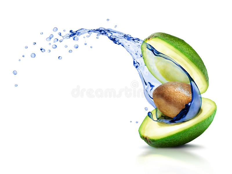 Avocado with a moving splash of water, isolated on white stock image