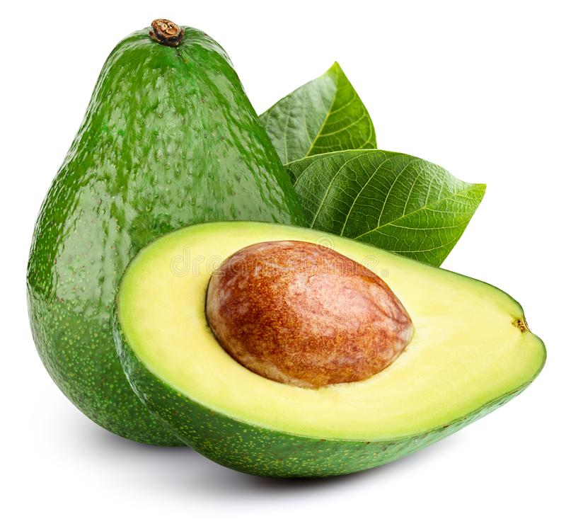 Avocado op wit wordt geïsoleerd dat royalty-vrije stock foto