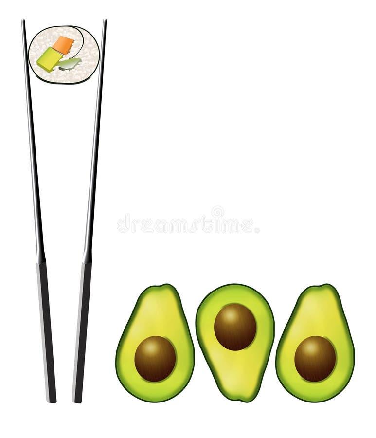 Avocado połówki z jamami zobaczą obok suszi rolki która zawiera marchewki, avocado i ogórka, royalty ilustracja