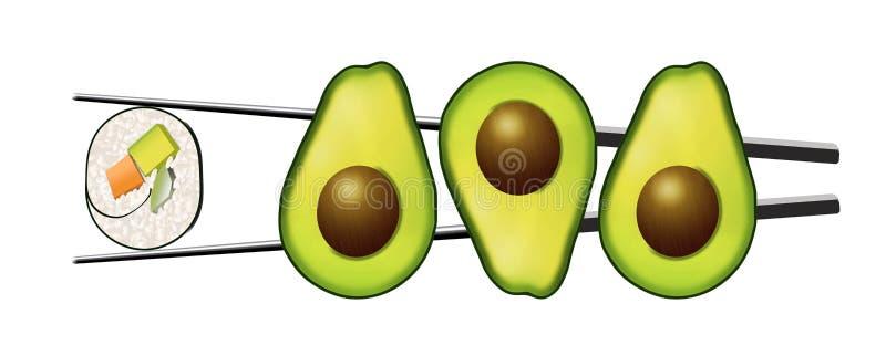 Avocado połówki z jamami zobaczą obok suszi rolki która zawiera marchewki, avocado i ogórka, ilustracji