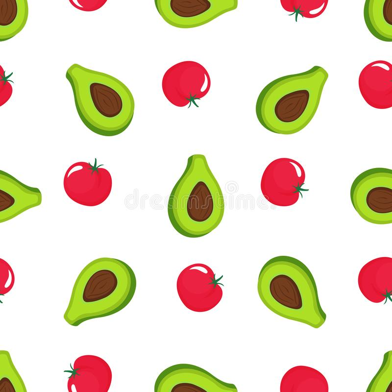 Avocado and red tomato seamless pattern. Organic vegetarian food. Used for design surfaces, fabrics, textiles, packaging stock illustration