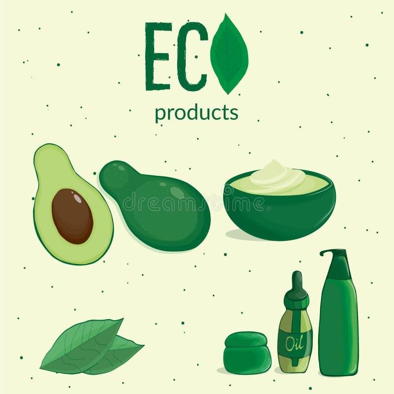 avocado's in de besnoeiing met kosmetisch containers en gebladerte royalty-vrije illustratie