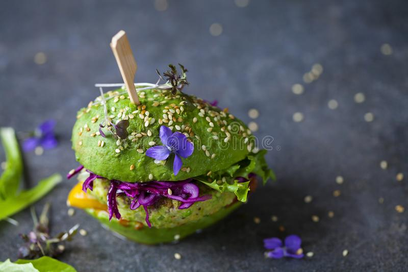 Download Avocado Burger With Green Patty Stock Image - Image of plant, burger: 117594805