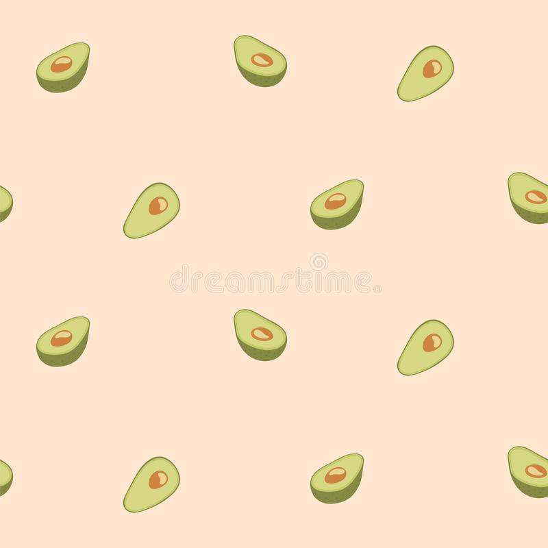 Avocado seamless pattern for print, fabric and organic, vegan, raw products packaging. Texture for eco and healthy food vector illustration