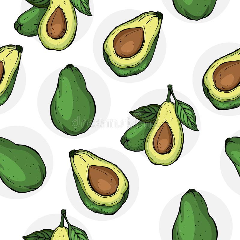 Avocado seamless pattern for print, fabric and organic, vegan, raw products packaging. Texture for eco and healthy food. Vector. Avocado seamless pattern for royalty free illustration