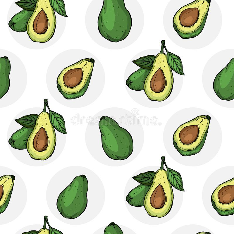 Avocado seamless pattern for print, fabric and organic, vegan, raw products packaging. Texture for eco and healthy food. Vector. Avocado seamless pattern for stock illustration