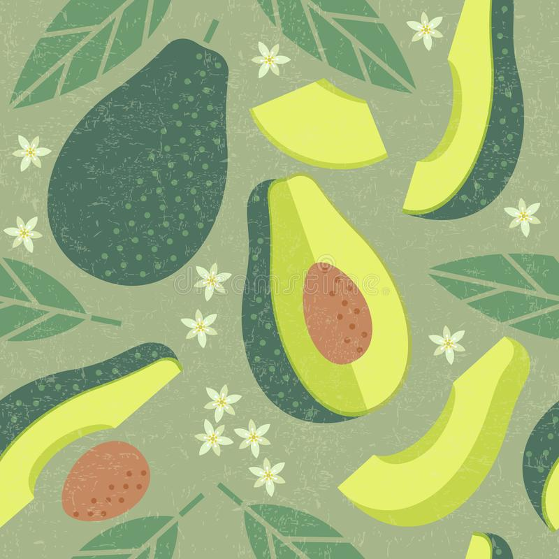 Avocado seamless pattern. Whole and sliced avocado with leaves and flowers on shabby background. stock illustration