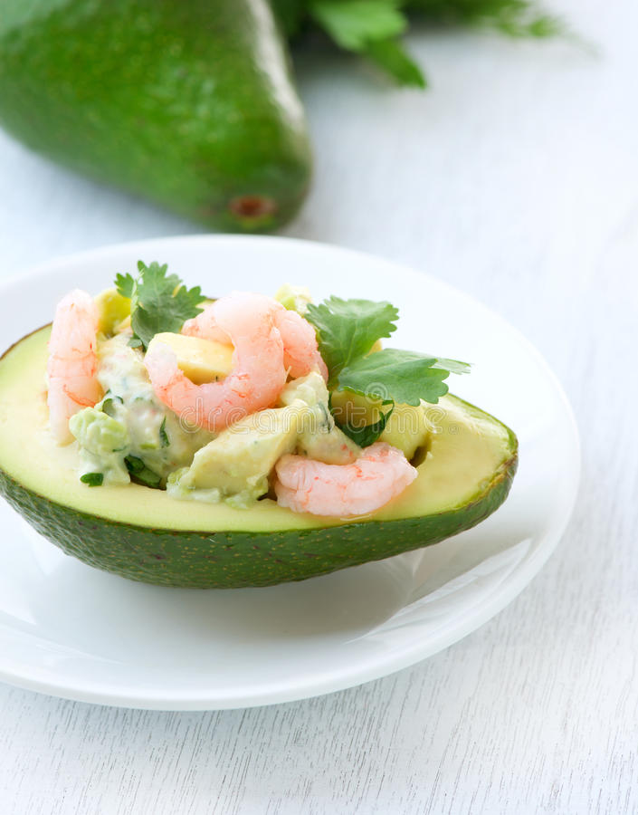 Avocado and Shrimps Salad royalty free stock images