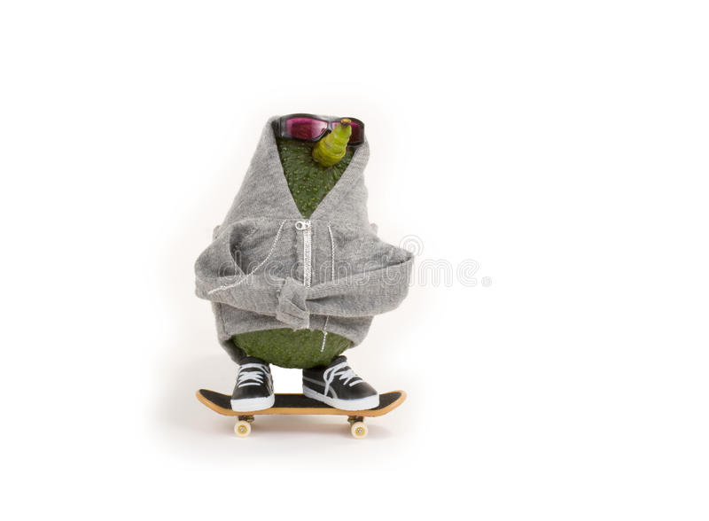 Avocado Skateboarding royalty free stock image