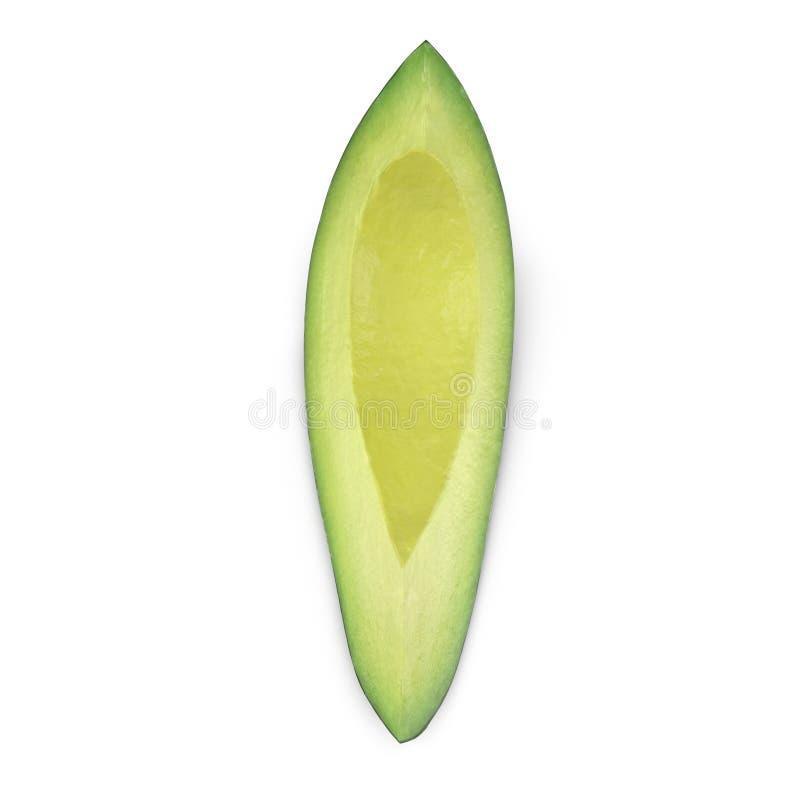 Avocado Slice Isolated on White Background 3D Illustration. Avocado Slice Isolated on White Background. 3D Illustration stock illustration