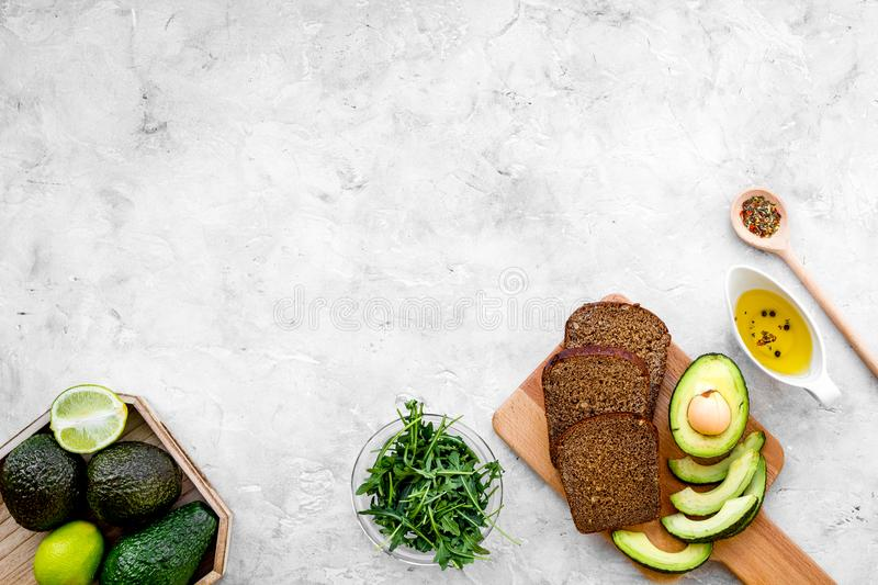 Avocado toast for light healthy breakfast on grey background top view copy space stock images