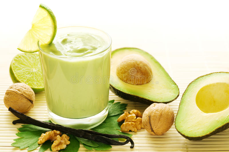 Avocado vanilla smoothie royalty free stock photos