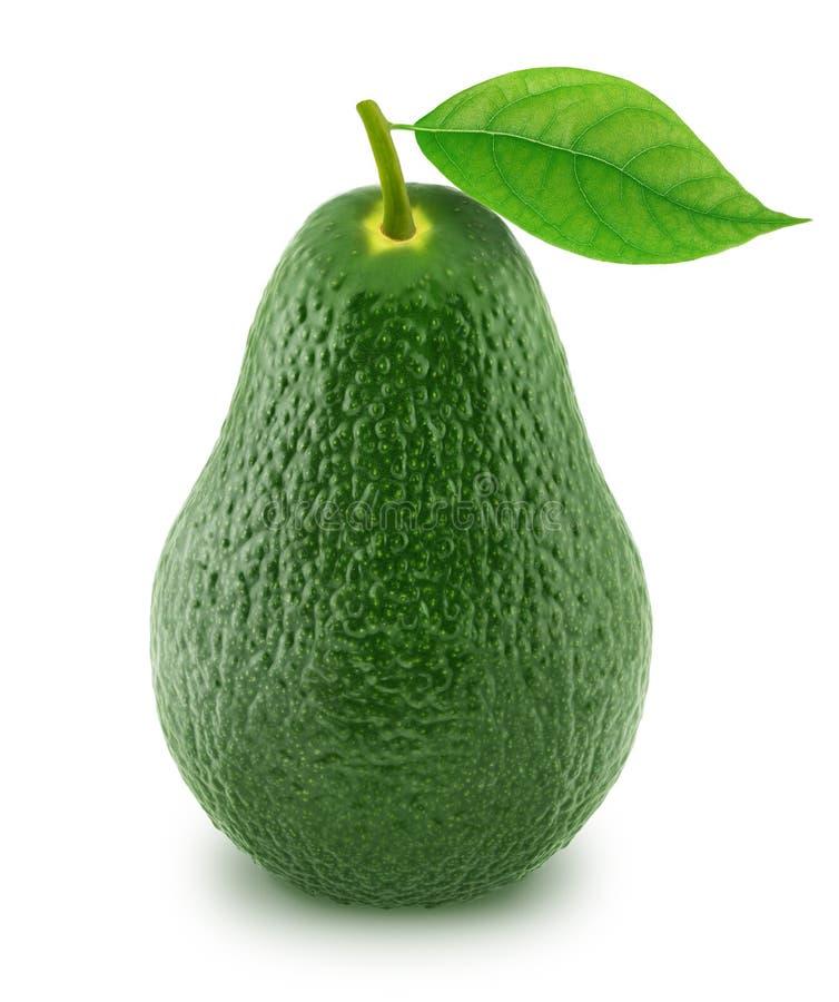 Avocado verde con la foglia isolata su un bianco fotografie stock libere da diritti