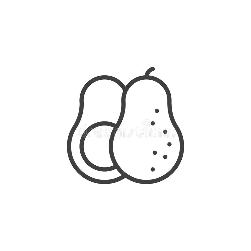 Avocado whole and slice line icon. Linear style sign for mobile concept and web design. Fresh fruit avocado outline vector icon. Symbol, logo illustration royalty free illustration