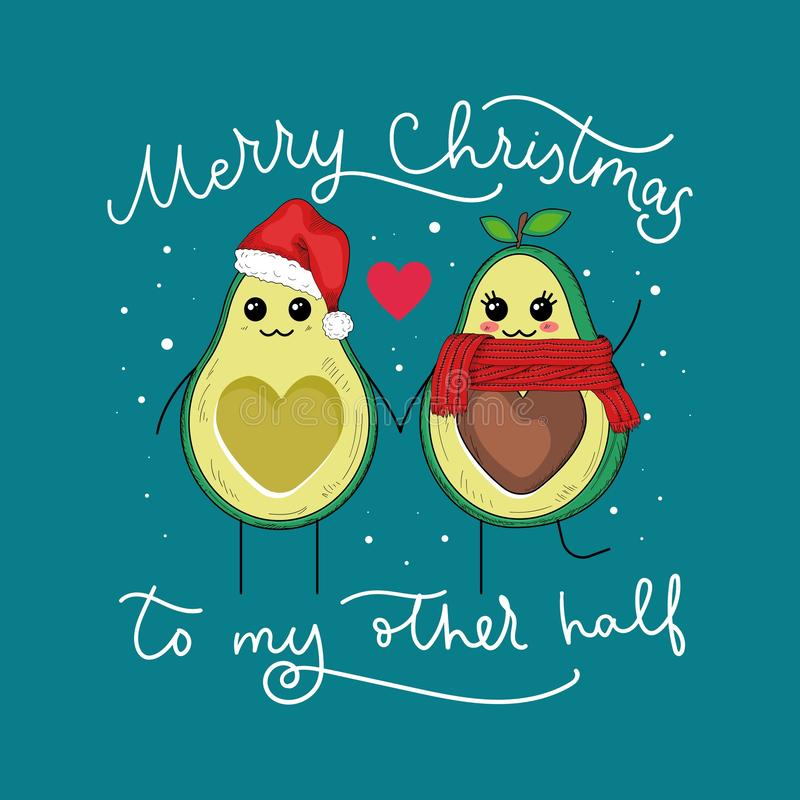 Avocado winter full of lovable feelings banner. Vector illustration. Greeting card merry christmas to my other half with cute small characters flat style design vector illustration