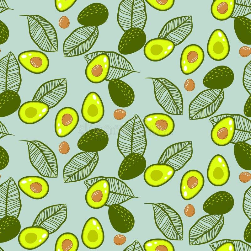 Avocado zieleń na pastel mennicy wektoru bezszwowym wzorze ilustracja wektor