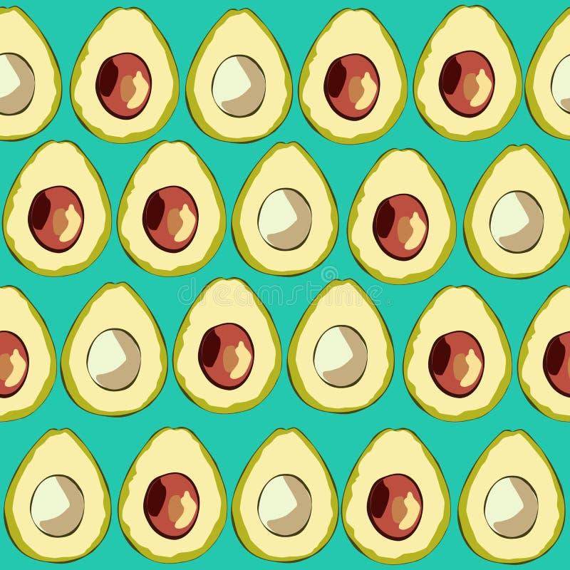 Avocados powierzchni Bezszwowy wzór, Avocado owoc powtórki Zdrowy Karmowy wzór dla Domowej tkaniny, kuchnia, Tekstylny projekt, t ilustracja wektor