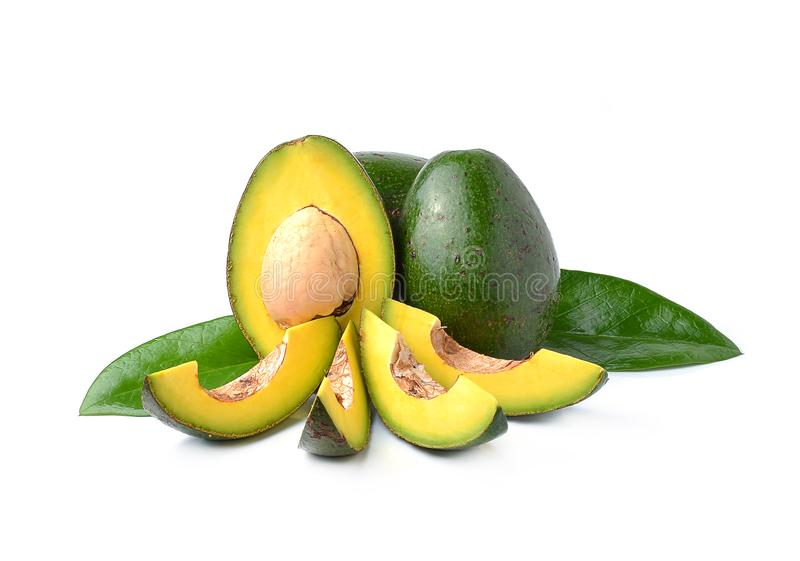 Avocados on a white background royalty free stock photos