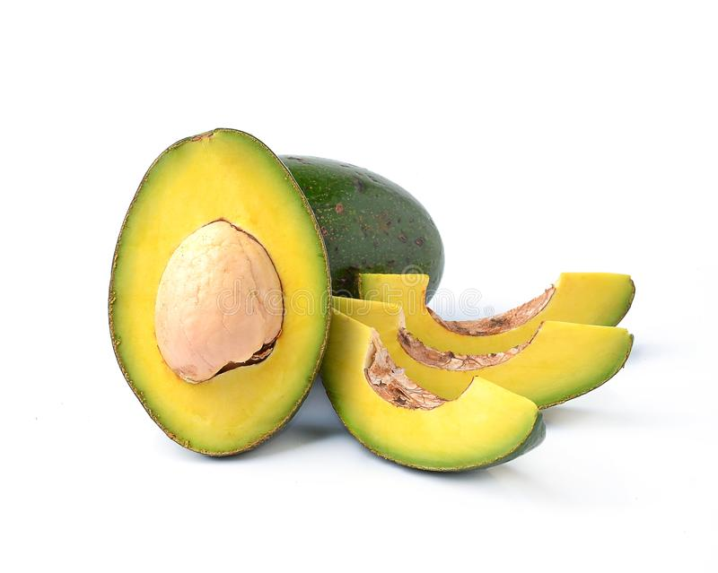 Avocados on a white background stock images