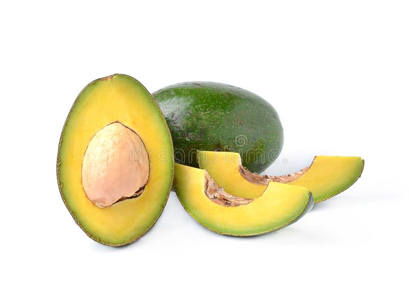 Avocados on a white background stock image