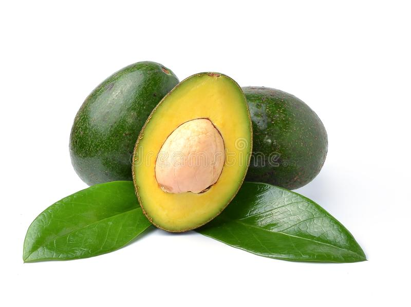 Avocados on a white background royalty free stock image