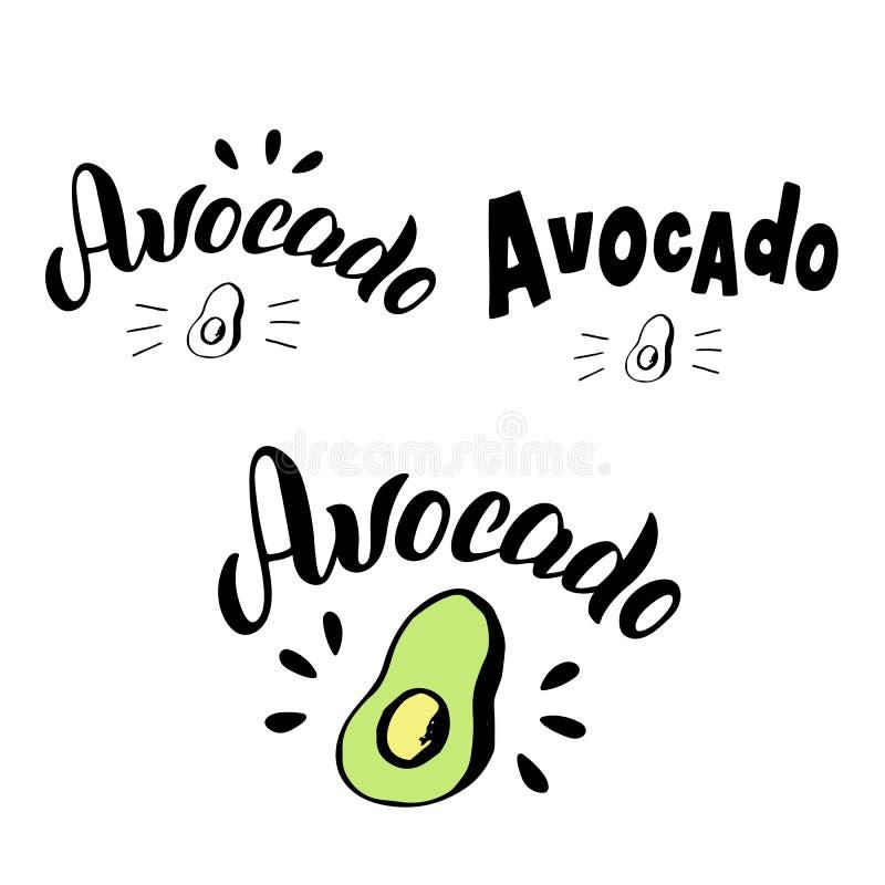 Avocadotypographie-Beschriftungssatz Modisches Logomenü, Aufkleber, Verpackungsgestaltung für Landwirtnahrungsmittelmarkt vektor abbildung