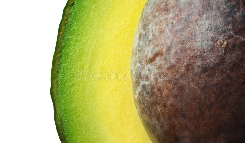 Avocat frais avec la graine (instruction-macro) photo stock