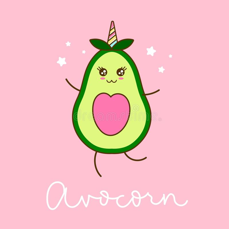 Avocorn card with cute avocado unicorn character and stars. Kawaii avocado vector illustration royalty free illustration