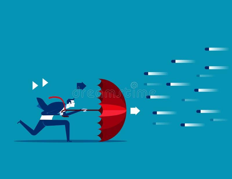 Avog risk Affärsman och paraply som ska skyddas Begreppsaffär vektor illustrationer