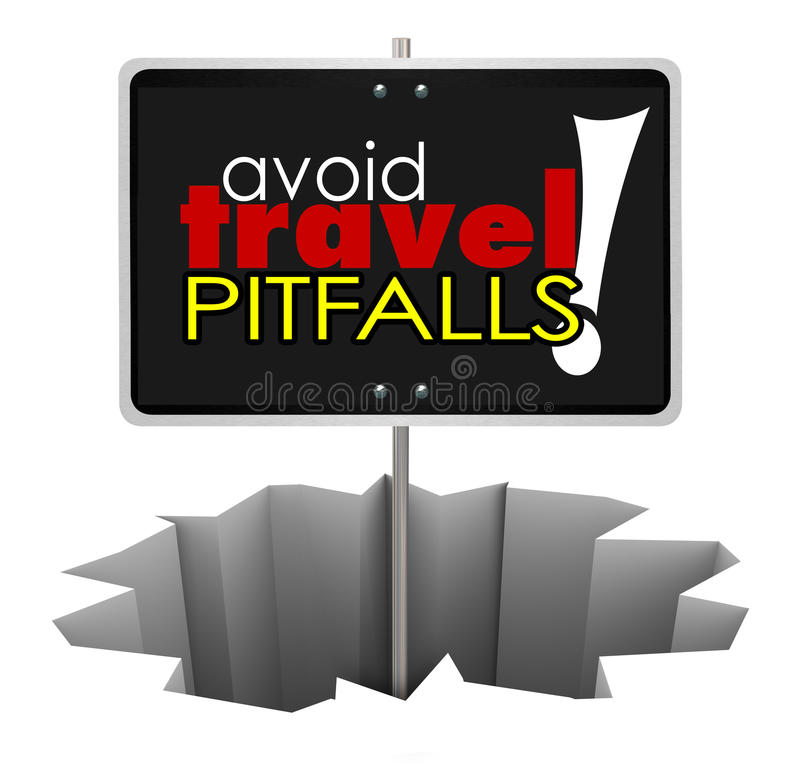 Avoid Travel Pitfalls Warning Sign Hole Trouble Problem. Avoid Travel Pitfalls words on a sign in a hole warning you to watch for problems in reservations and royalty free illustration