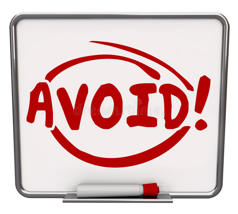 Avoid Word Written Dry Erase Board Warning Danger Prevention Precaution. Avoid word written and circled on a dry erase board to illustrate a warning or danger royalty free illustration