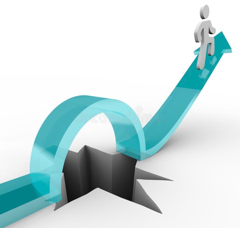 Avoiding a Pitfall - Arrow Man Jumps Over Hole stock illustration