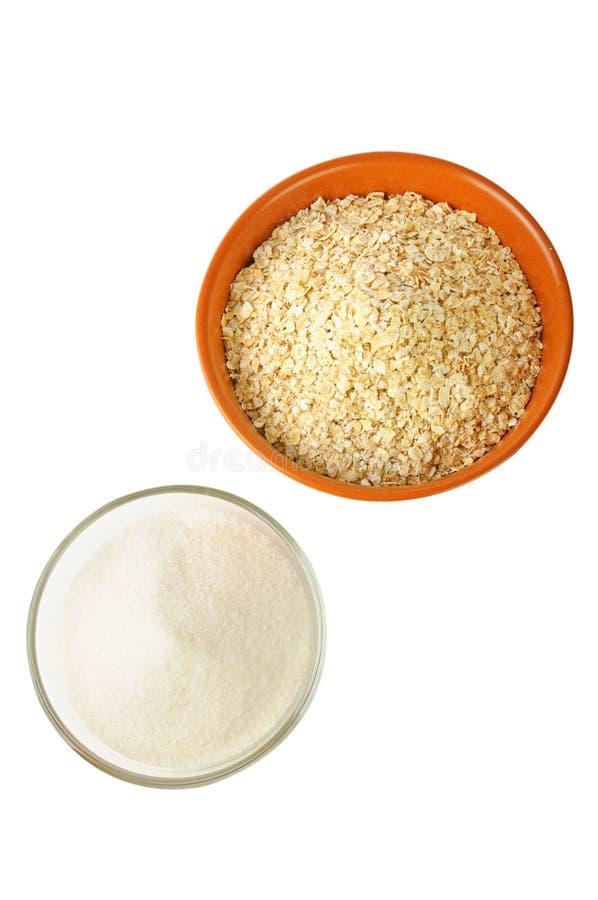 Avoine et sucre : nourritures d'hydrate de carbone image stock
