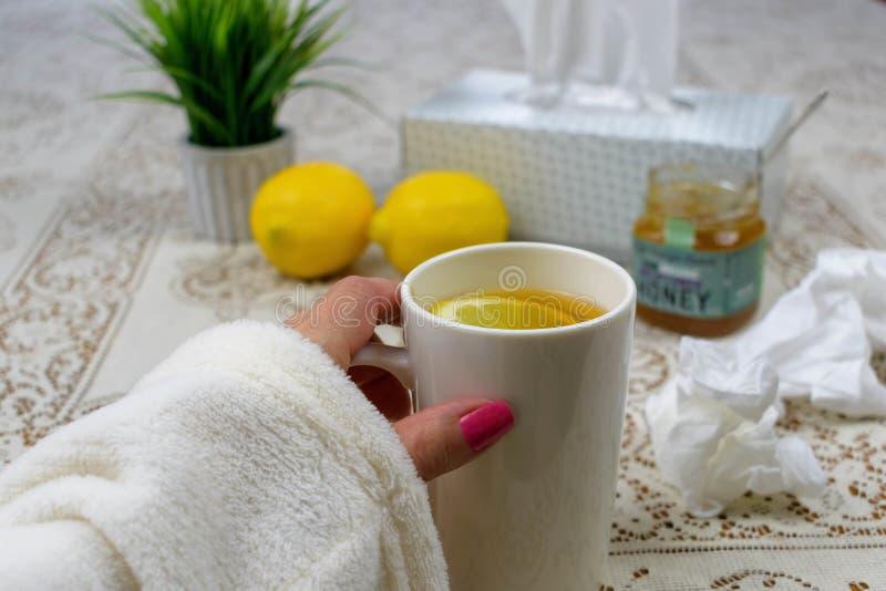Avoir le thé avec le citron pour un froid photo libre de droits