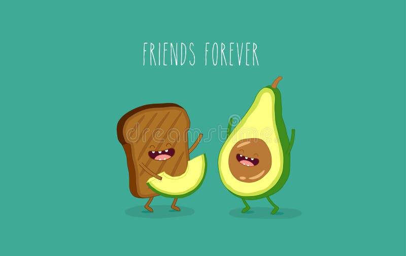 Avokado och brunt bröd stock illustrationer