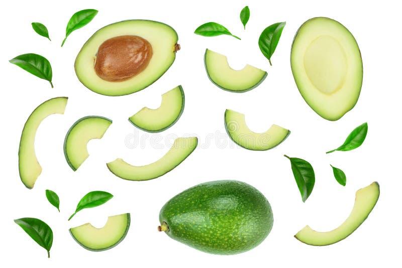 Avokado och skivor som dekoreras med gr royaltyfri illustrationer