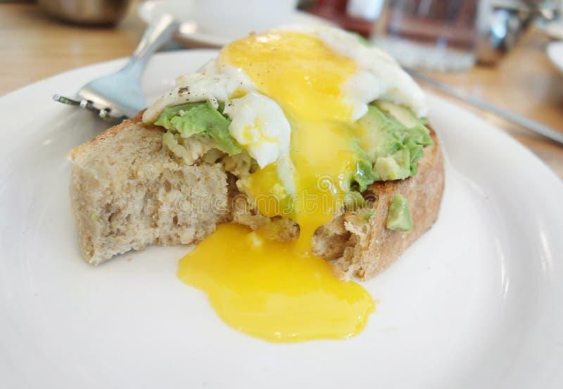 Avokadorostat bröd med ägg royaltyfria foton