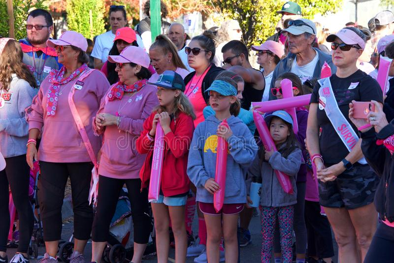 AVON Breast Cancer 5K walk for a cure in Walnut Creek, CA royalty free stock photos