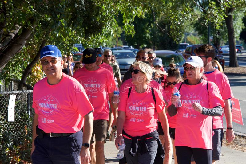 AVON Breast Cancer 5K walk for a cure in Walnut Creek, CA royalty free stock images