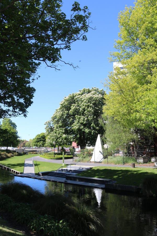 Avon flod och flodstrand Christchurch, Nya Zeeland arkivbild