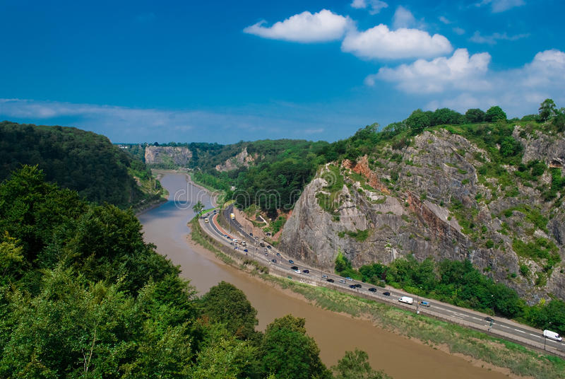 Avon Gorge BRistol. The Avon Gorge in Bristol. The river Avon flows alongside the busy road also known as the Portway stock image