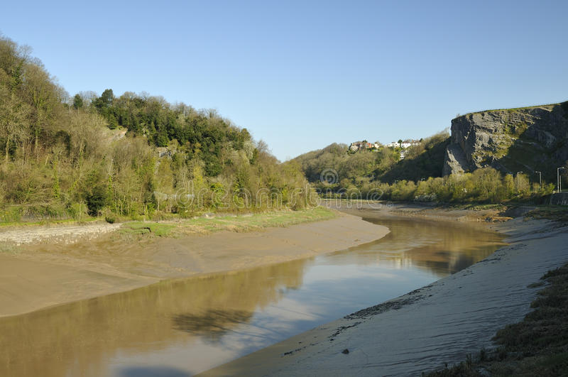 Avon Gorge, Bristol. Early morning sun & low water in Avon Gorge, Bristol royalty free stock images