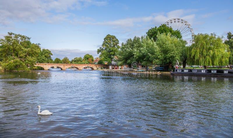Avon kanal, Stratford på Avon, stad för William Shakespeare ` s, Westmidlands, England royaltyfri fotografi