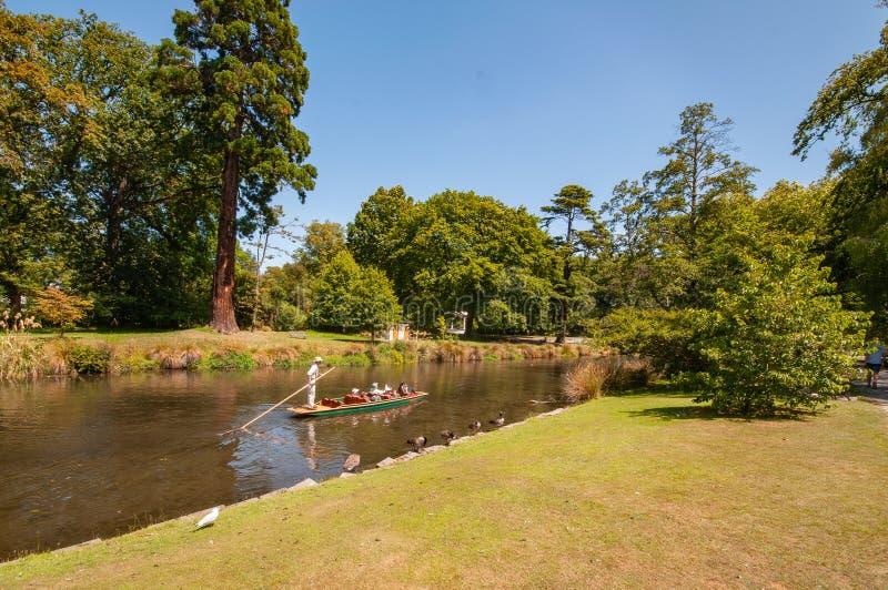 Avon river gondola Christchurch New Zealand stock photos