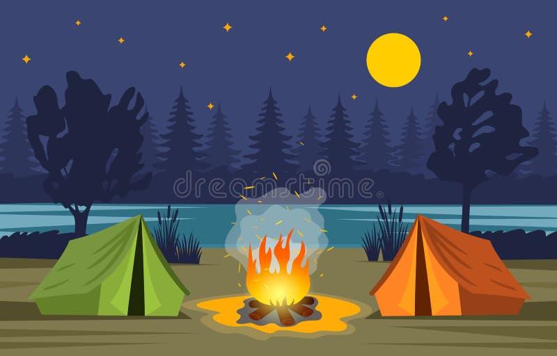 Avond boslandschap in het de zomerkamp De aard, bos, vuur, tent is symbolen van groen toerisme Vector illustratie vector illustratie
