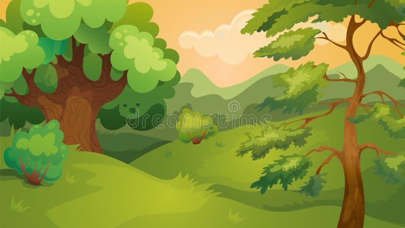 Avond Forest Game Background stock illustratie