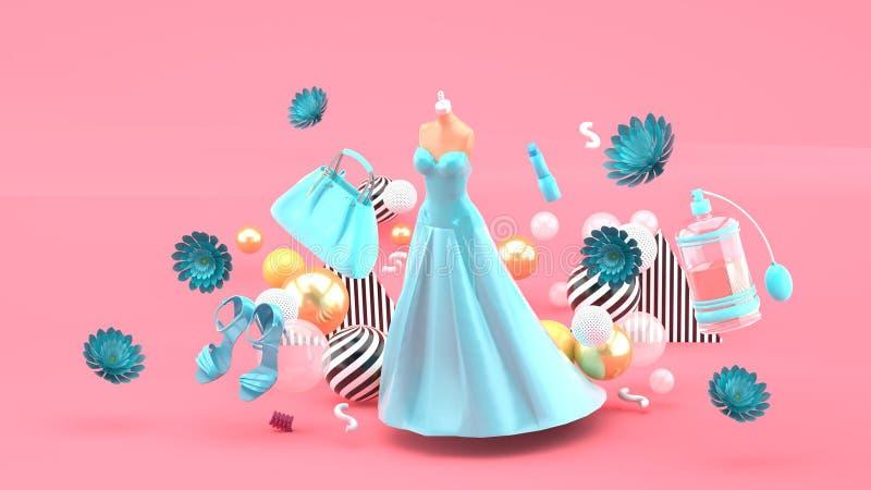 Avondjurken, zakken, schoenen en schoonheidsmiddelen die onder de bloemen op een roze achtergrond drijven royalty-vrije illustratie