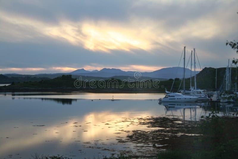Avondlicht, het Westenhooglanden van Schotland royalty-vrije stock afbeeldingen