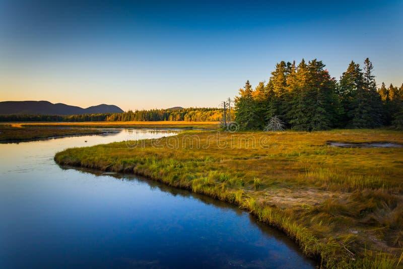 Avondlicht op een stroom en bergen dichtbij Tremont, in Acadia stock foto's